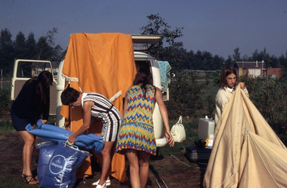 Getting ready for a day of sightseeing, 1970.  It looks like an advertisement for a fun camping holiday gone bad.