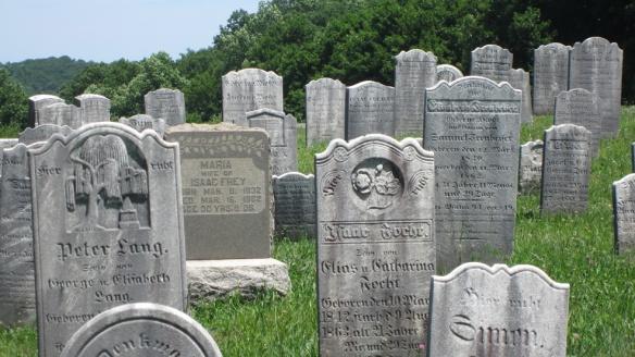 Old hill cemetery, lots of ancestors here, many headstones in German