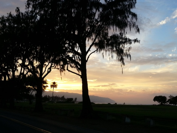 Sunset in Haleiwa, walking home from Haleiwa Joe's