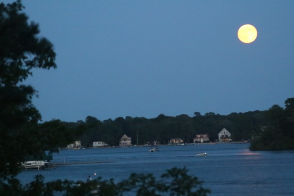 We watched the super moon rise over the lake.