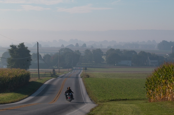 Good roads for riding--motorcyclists are everywhere in Lancaster on the weekends