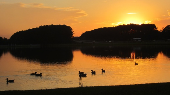 Sunset over the campground lake and interstate