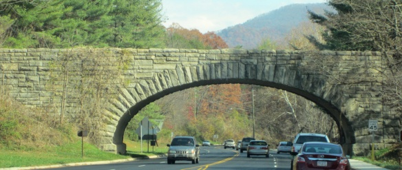 The stone bridge is the Blue Ridge Highway as it passes near Asheville