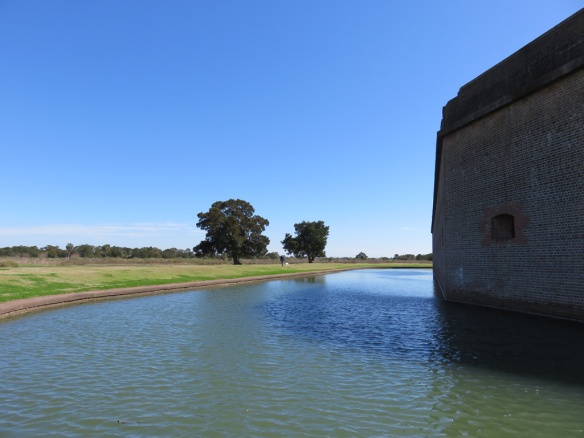 You can just see George and Zoe at the edge of the moat.