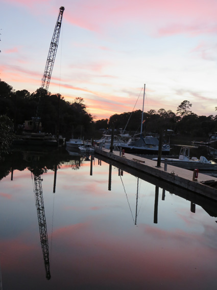 Sunset over the dock construction.