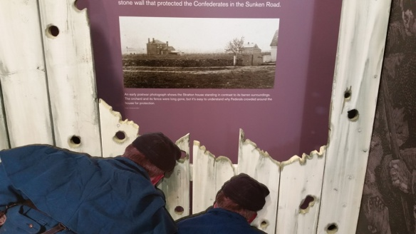 This exhibit in the visitors' center tried to depict the scant cover--a wooden fence and a house--available to the Union troops at Marye's
