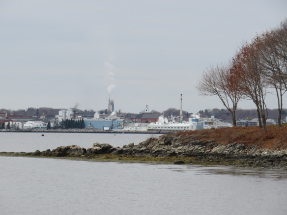 Industry in the harbor. The smokestack is at a cement factory down the road from Rockland.
