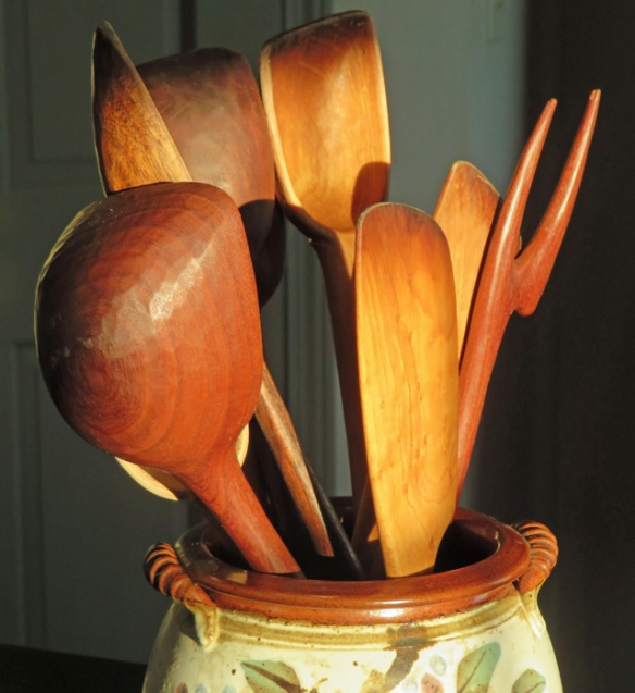 My wooden spoons, more than 15 years old, hand carved by Don Duncan in North Carolina.
